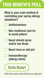 This Month's Poll. What is your main method of controlling your spring allergy symptoms?