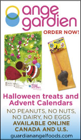 Ange Gardien  Halloween treats and Advent Calendars Order now! No peanuts, no nuts, no dairy, no eggs  Available online  Canada and U.S.