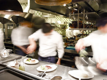 Overly busy restaurant kitchen.