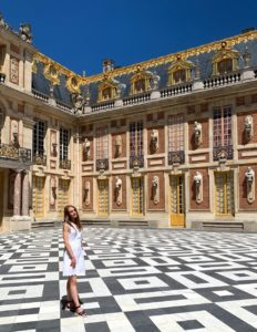 Alexa visiting the Palace of Versailles in France.