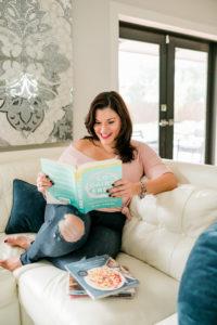 Michelle reading dairy-free cookbooks