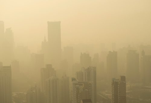 Photo of smog in a city.