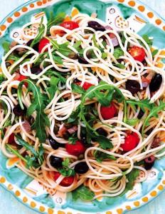Warm Spaghetti Capers Arugula (2)