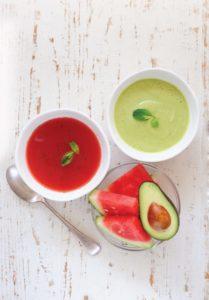 Watermelon and Avocado Soups