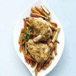 Braised Chicken in Apple Cider and Maple Glazed Parsnips and Carrots