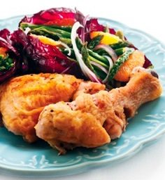 Lemon chicken with salad