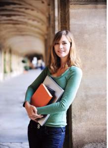 Girl univeristy student columns