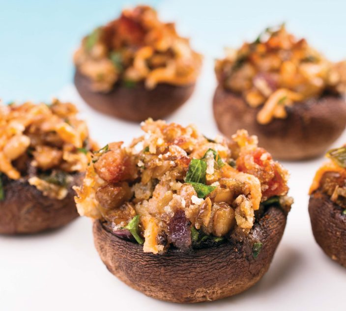 Lentil and Herb Stuffed Mushrooms