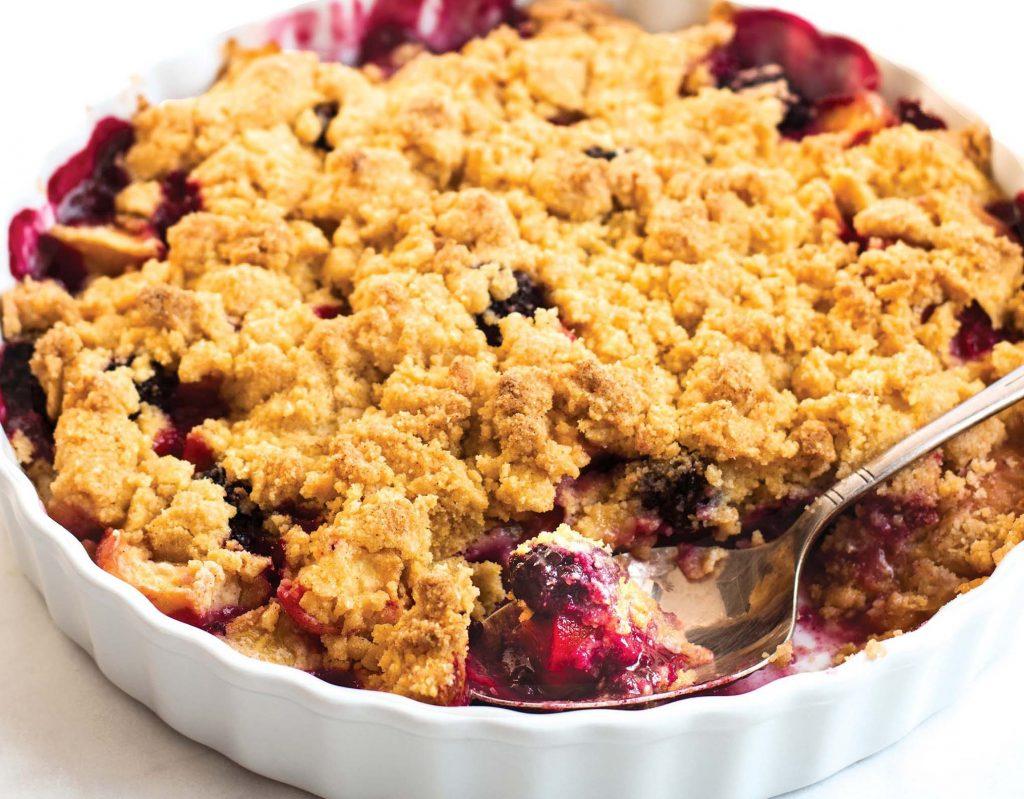 Peach + Blackberry Crumble Recipe — Dishmaps