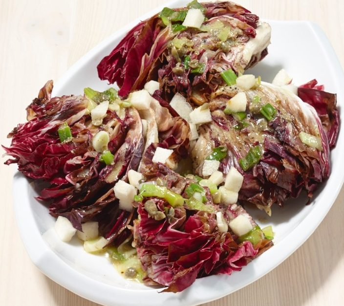Recipes allergic living grilled radicchio wedges with charred scallion and caper dressing forumfinder Images