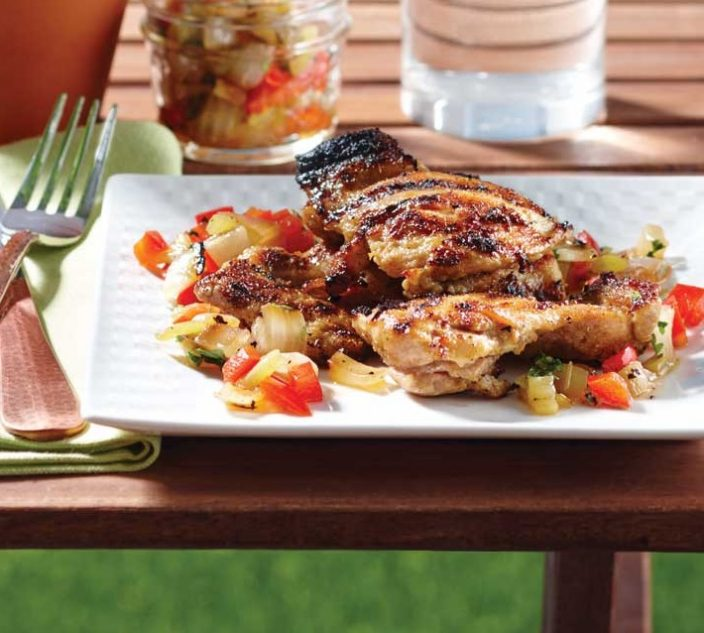 Recipes allergic living grilled chicken thighs with sweet onion and pepper salsa forumfinder Gallery