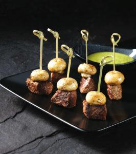 Steak mushroom skewers