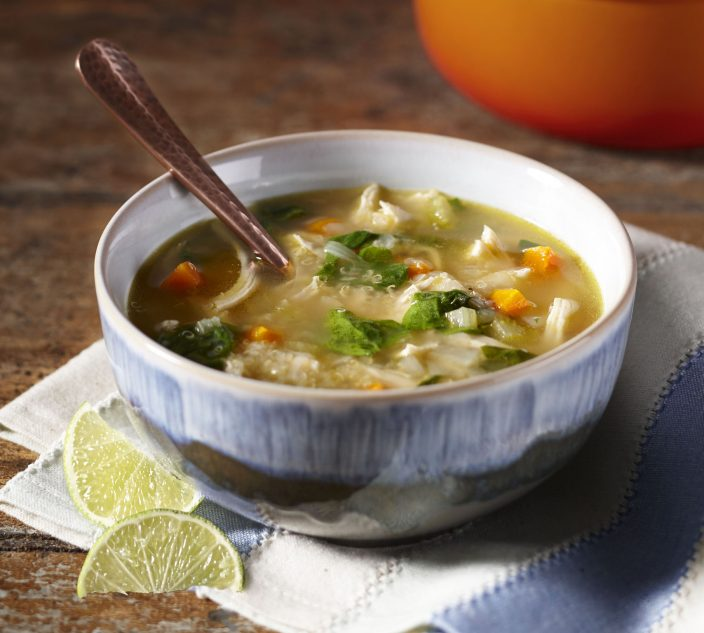 Allergy-Friendly Chicken, Quinoa and Spinach Soup