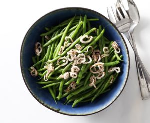 Green brans with crispy shallots.