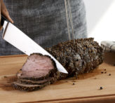 Pepper crusted beef tenderloin.
