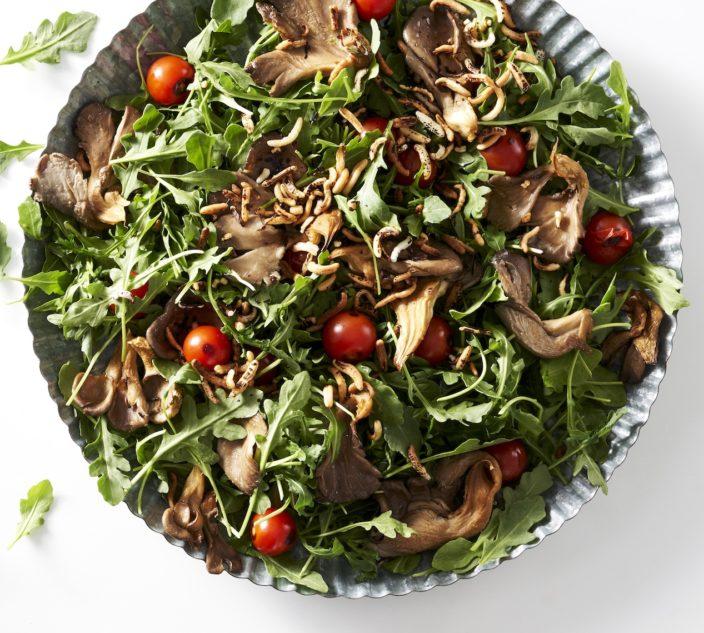 Mushroom, cherry tomato and arugula salad.