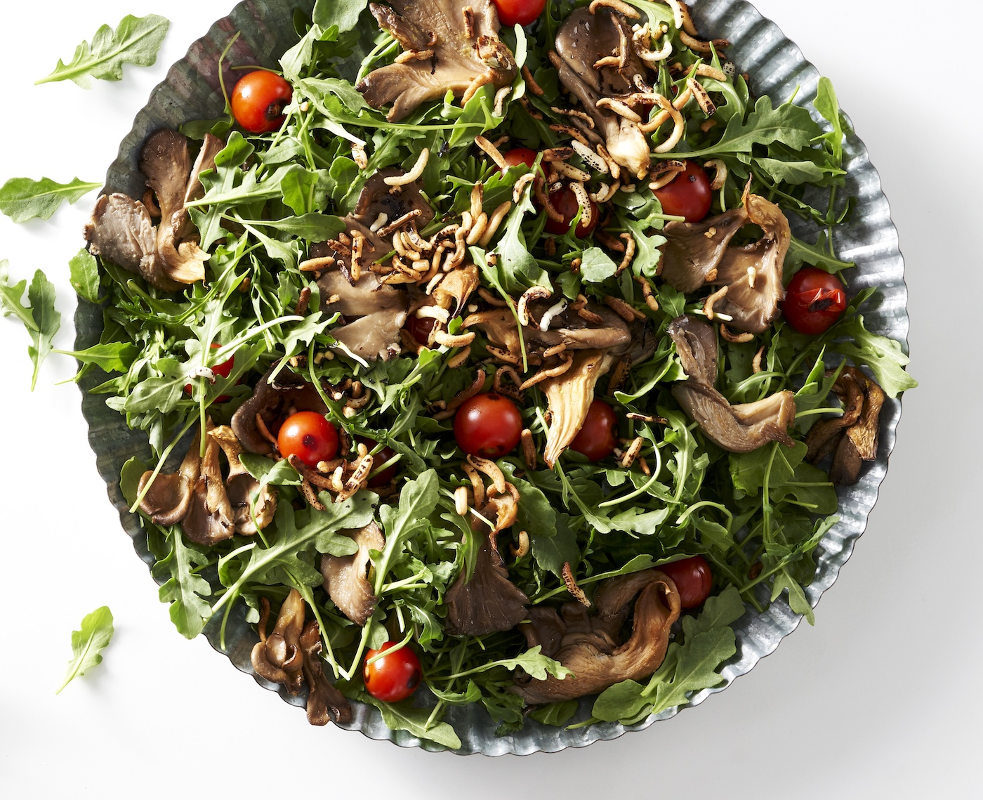 Mushroom, cherry tomato and arugula salad.