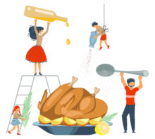 Illustration of a family cooking together.