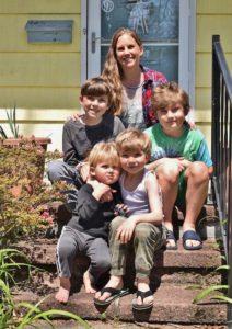Emily Saganiec with her boys, Ryan, Dylan, Deacon and Owen.
