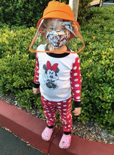 Savannah wearing a mask  and face shield.