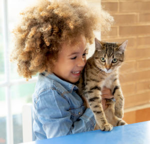 Ethnic kid girl playing with cat in a table.