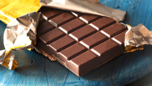 Chocolate bar in wrapper.