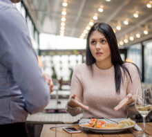Woman questions restaurant food order