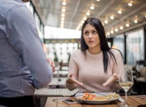 Woman questions restaurant food order